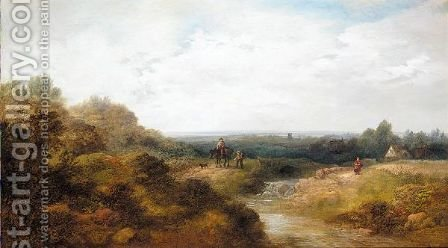Landscape with children and pony by (after) Edward Charles Williams - Reproduction Oil Painting