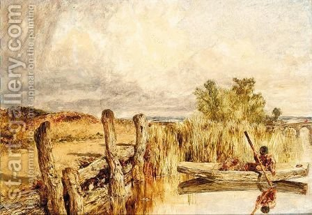 Figure in a punt by Henry Thomas Dawson - Reproduction Oil Painting