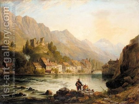 The riverside village by (after) John Wilson Carmichael - Reproduction Oil Painting