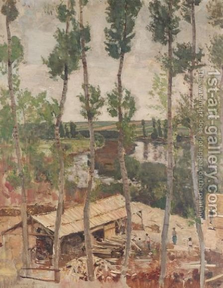 The saw mill by Henry Bishop - Reproduction Oil Painting