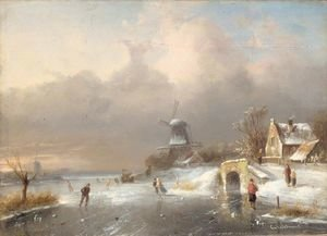 Famous paintings of Ice skating: Figures skating on a leke with a windmill in the background