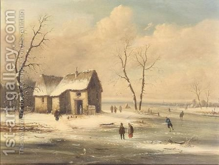Figures skating on a frozen river by (after) Charles Leickert - Reproduction Oil Painting