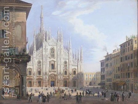 Milan cathedral by (after) Carlo Grubacs - Reproduction Oil Painting