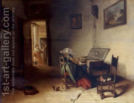 Interior With A Lady Playing The Virginals, A Gentleman In The Background Coming Up The Stairway by (after) Hendrick Maertensz. Sorch (see Sorgh) - Reproduction Oil Painting