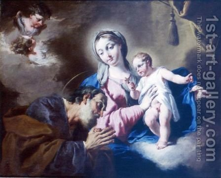Holy Family by Giovanni Battista Pittoni the younger - Reproduction Oil Painting