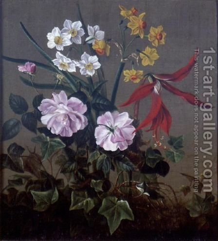 A Still Life Of Flowers by (after) Pierre-Joseph Redoute - Reproduction Oil Painting