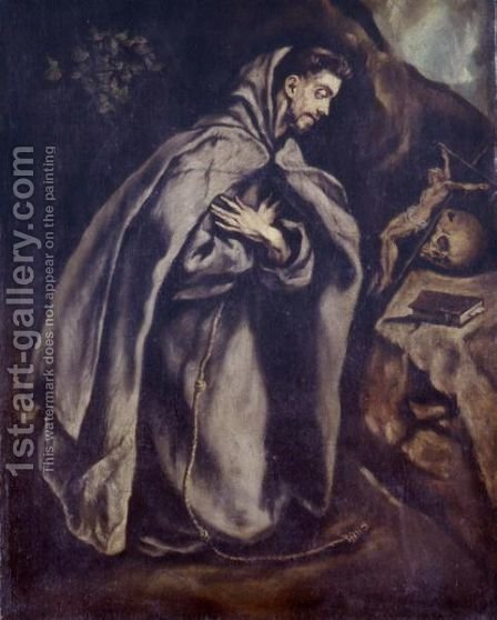 Saint Francis In Meditation by (after) El Greco (Domenikos Theotokopoulos) - Reproduction Oil Painting