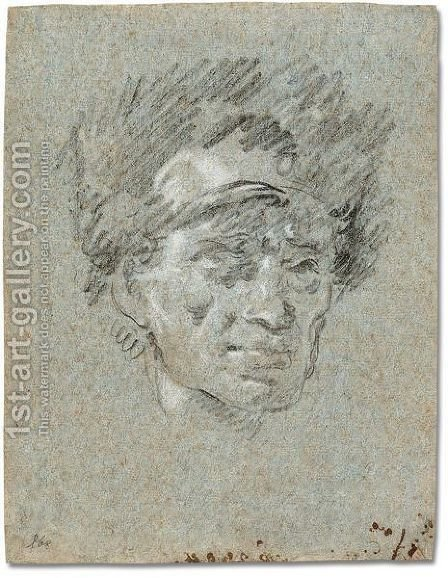 Hed of a man wearing a fur hat by Giovanni Domenico Tiepolo - Reproduction Oil Painting