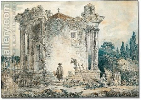 The temple of the sibyl at Tivoli by Hubert Robert - Reproduction Oil Painting