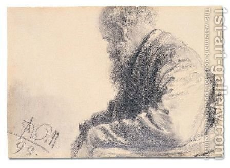 Seated old man with a beard by Adolph von Menzel - Reproduction Oil Painting