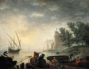 Reproduction oil paintings - Pierre-Jacques Volaire - A Mediterranean Port By Moonlight With Fishermen Pulling In Their Nets