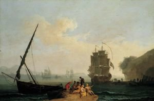 Reproduction oil paintings - Pierre-Jacques Volaire - A Mediterranean Bay With A Merchantman Unloading, Seamen Playing Cards In The Foreground And A Port Beyond