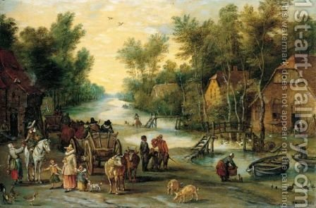A Wooded River Landscape With Elegant Figures Buying Provender by (after) Jan The Elder Brueghel - Reproduction Oil Painting