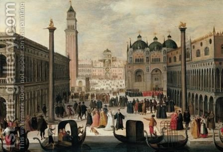 Venice, A View Of The Piazzetta And The Palazzo Ducale by (after) Louis De Caullery - Reproduction Oil Painting