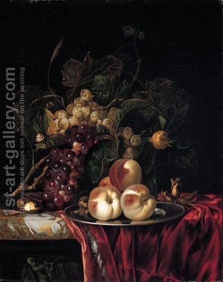 A Still Life Of Peaches On A Pewter Plate, Bunches Of Grapes, Walnuts And Almonds Together On A Red Cloth On A Stone Ledge by (after) Willem Van Aelst - Reproduction Oil Painting