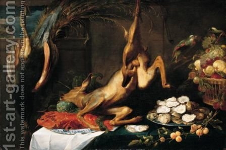A Still Life Of A Peacock, A Roe Deer, A Lobster On A Wan-Li Porcelain Plate, Oysters On A Silver Platter, A Spray Of Plum And Fruit In A Basket, All Upon A Table Laid With A White And A Blue Cloth, With A Cat On A Window Ledge, And Parrots Feeding by (after) Frans Snyders - Reproduction Oil Painting