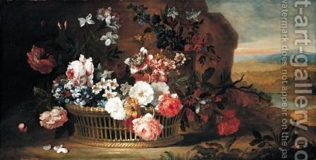 A Still Life Of Roses, Narcissi, Bluebells And Carnations In A Basket With A Distant Landscape Beyond by (after) Pieter II Casteels - Reproduction Oil Painting