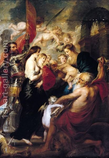 The Virgin And Child With Saints George, Mary Magdalene, Jerome And Augustine by (after) Sir Peter Paul Rubens - Reproduction Oil Painting
