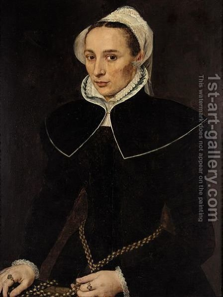 A Portrait Of A Lady, Three-Quarter Length, Wearing A Black Dress With A White Collar And Headdress, Holding A Gold Chain by (after) Willem Adriaensz Key - Reproduction Oil Painting