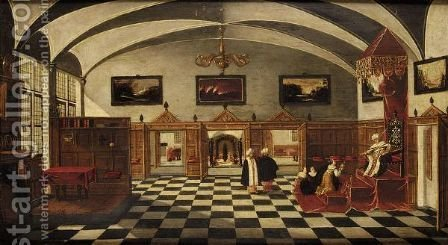 A Palace Interior With The Meeting Of Solomon And The Queen Of Sheba by (after) Bartholomeus Van Bassen - Reproduction Oil Painting