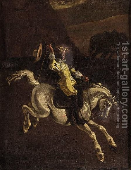 A Gentleman In Yellow Schooling A Horse by (after) Michaelanglo Cerquozzi - Reproduction Oil Painting