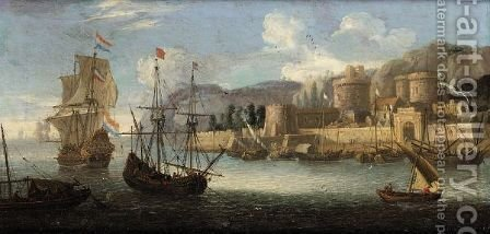 A Mediterranean Harbour Scene by Alessandro Grevenbroeck - Reproduction Oil Painting