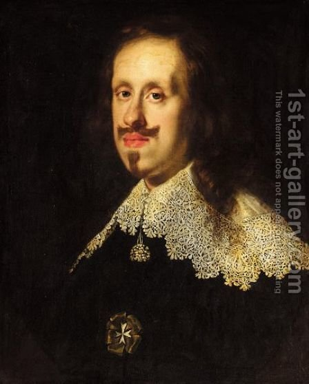 A Portrait Of Giancarlo Di Cosimo II, Dei Medici, Head And Shoulders, Wearing A Black Coat, A White Ruff And The White Cross Of The Order Of Malta by (after) Justus Sustermans - Reproduction Oil Painting
