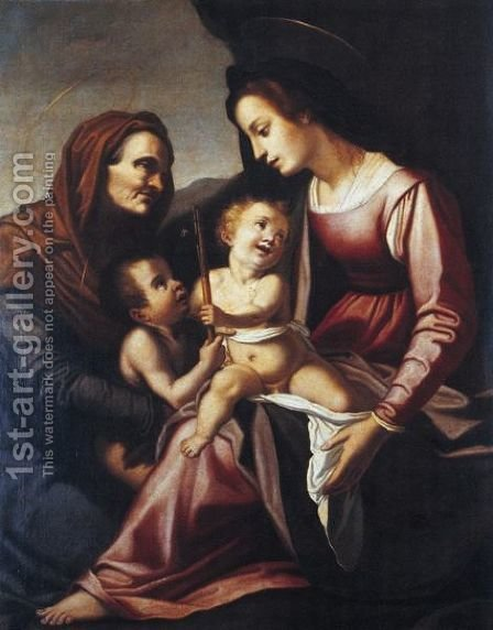 The Madonna And Child With The Infant Saint John The Baptist And Saint Elizabeth by (after)  (Jacopo Chimenti) Empoli - Reproduction Oil Painting