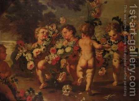 Putti Dancing And Holding Garlands Of Flowers by (after) Francesco Trevisani - Reproduction Oil Painting