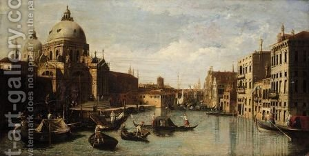 Venice, A View Of The Entrance Of The Grand Canal With The Church Of Santa Maria Della Salute, Looking West by (after) (Giovanni Antonio Canal) Canaletto - Reproduction Oil Painting