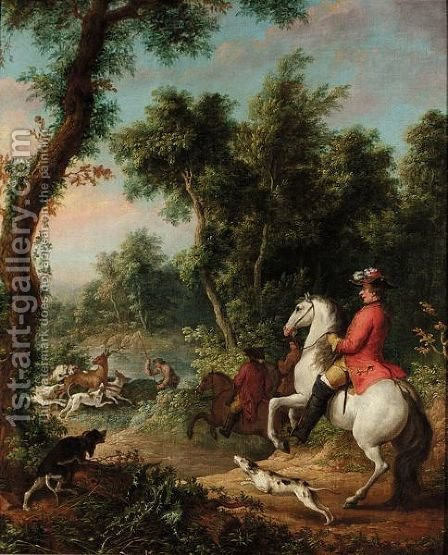 A Wooded Landscape With Three Gentleman On Horses Hunting Down A Stag With Their Dogs by (after) Jean-Baptiste Oudry - Reproduction Oil Painting