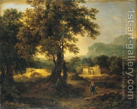 A Wooded Landscape With Figures by Achille-Etna Michallon - Reproduction Oil Painting