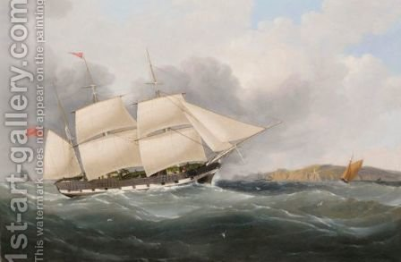 Third-Rater Off The Coast by (after) Samuel Walters - Reproduction Oil Painting