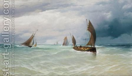 Fishing Boats In Stormy Weather by (after) David James - Reproduction Oil Painting