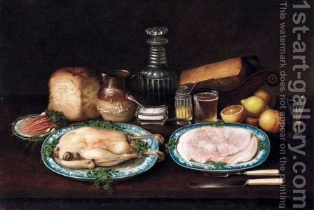 A Still Life Of Meat, Fruit And Vegetables On A Table by (after) George, Of Chichester Smith - Reproduction Oil Painting
