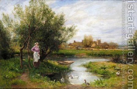 At The Village Pond by Henry John Yeend King - Reproduction Oil Painting