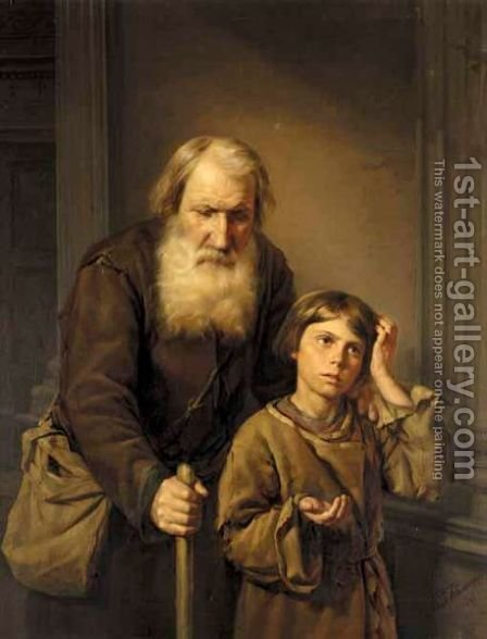 Begging For Alms by Alexander Valentinovich Kaminsky - Reproduction Oil Painting