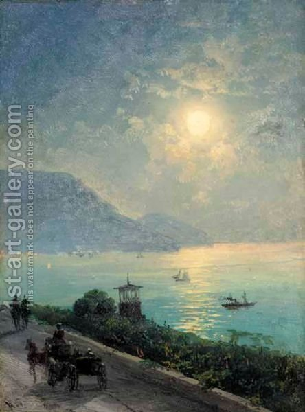 The Black Sea Coast At Night by Ivan Konstantinovich Aivazovsky - Reproduction Oil Painting