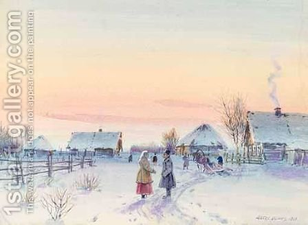 Winter Scene In Provincial Russia by Albert Nikolaevich Benois - Reproduction Oil Painting