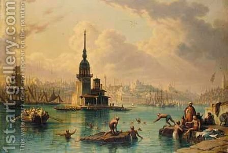 Bathing In The Bosphorus by (after) Hubert Sattler - Reproduction Oil Painting