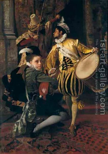 Musical Interlude by Gustave Jean Jacquet - Reproduction Oil Painting