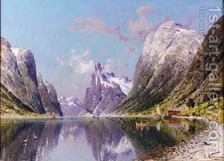 Boating On A Fjord by Adelsteen Normann - Reproduction Oil Painting