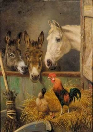Reproduction oil paintings - Herbert William Weekes - Farmyard Friends