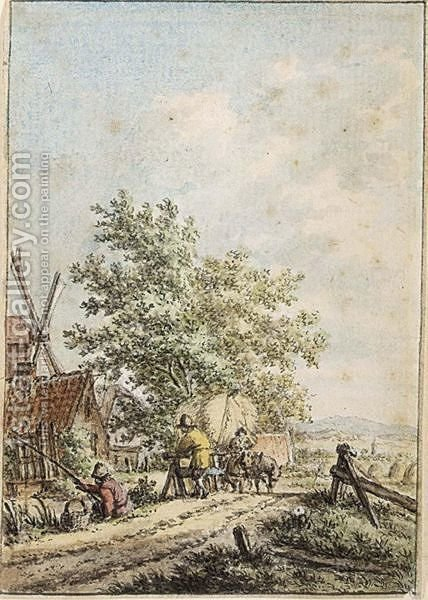 Summer Landscape With A Fisherman And Other Figures By A Farm by Jacob Cats - Reproduction Oil Painting