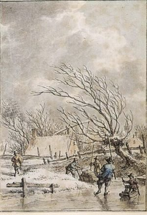 Famous paintings of Ice skating: Winter Landscape With Skaters