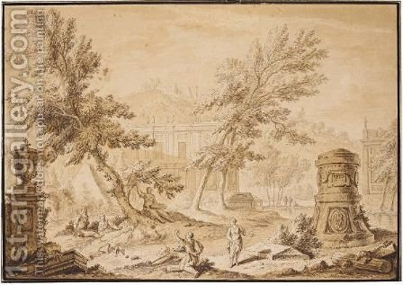 Arcadian Landscape With Buildings, Classical Ruins And Figures Conversing by Abraham Rademaker - Reproduction Oil Painting