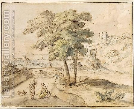 An Arcadian Landscape With Figures Conversing Under A Tree by (after) Huysum, Jan van - Reproduction Oil Painting
