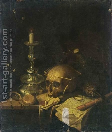 A Vanitas Still Life With A Skull, A Watch, A Candlestick, A Letter by (after) Sebastiaan Bonnecroy - Reproduction Oil Painting