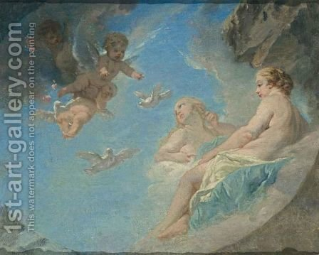 Reclining Nudes On Clouds Together With Putti by (after) Francois Boucher - Reproduction Oil Painting