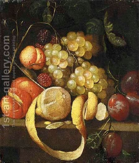 A Still Life With Grapes, Plums, Peaches, Logan Berries, Apricots And A Lemon Together On A Stone Ledge by (after) J.Bourginon - Reproduction Oil Painting